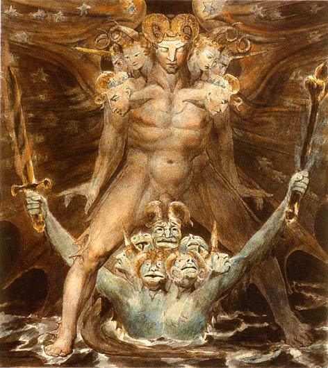 The Great Red Dragon and the Beast from the Sea, William Blake [Public domain], via Wikimedia Commons