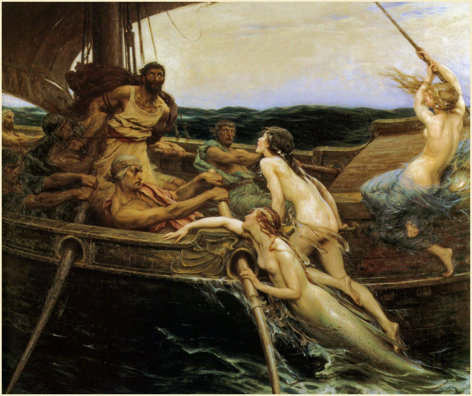 Ulysse et les sirènes, 1909 par Herbert Draper [Public domain], via Wikimedia Commons
