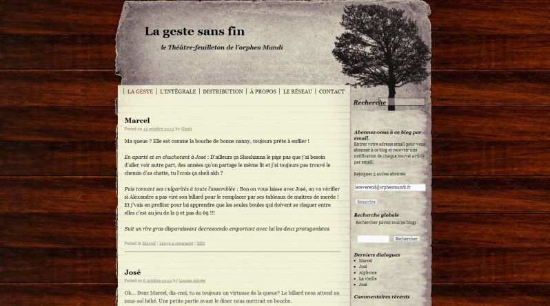 """Site de """"La geste sans fin"""""""